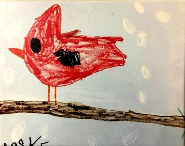 James' drawing of the cardinal.